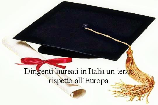 Dirigenti laureati in Italia,un terzo rispetto all'Europa e Capitalismo di relazione