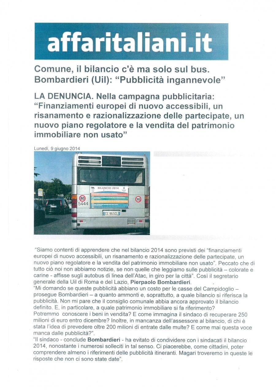 """Comune, il bilancio c'è ma solo sul bus.  Bombardieri (UIL) : """"Pubblicità ingannevole"""""""