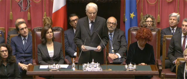 Discorso di insediamento durante la cerimonia di giuramento a Montecitorio del XII Presidente della Repubblica italiana Sergio Mattarella